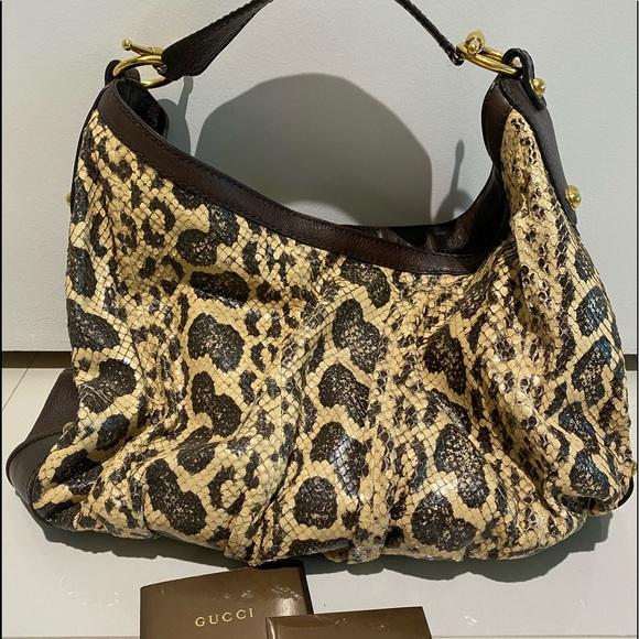 Gucci Handbags - $3550 GUCCI PYTHON SNAKESKIN LARGE JOCKEY HOBO